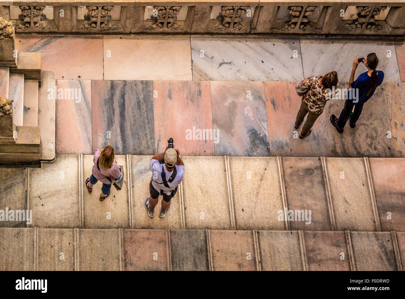 Tourists on the roof of Milan Cathedral - Stock Image