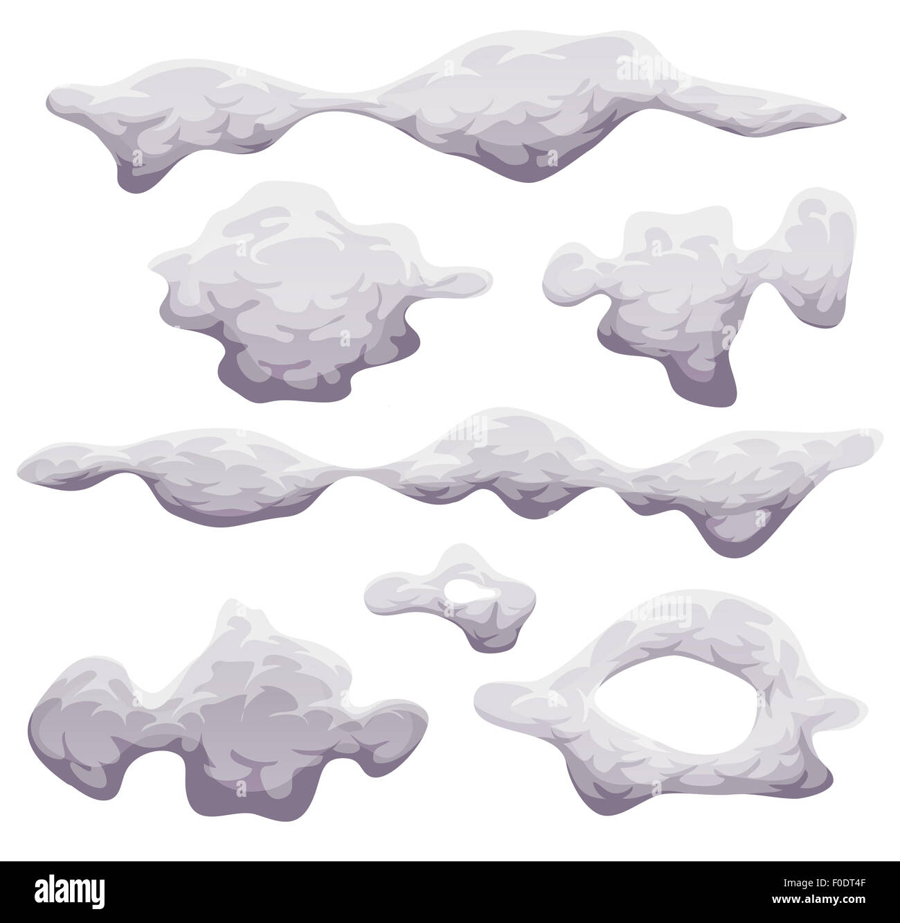 Illustration of a set of cartoon funny clouds, smoke patterns and fog icons isolated on white background - Stock Image