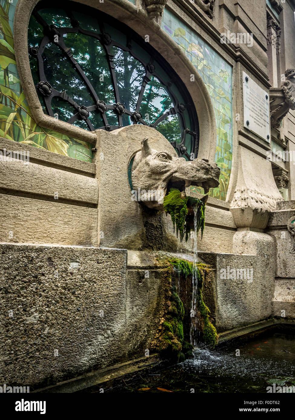 Hippopotamus water feature at the Milan aquarium (acquario civico} in Sempione Park Milan. - Stock Image