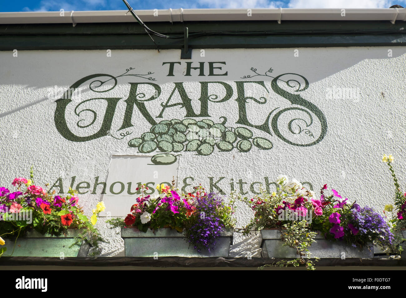 Falmouth a town and Port in Cornwall England UK The Grapes Pub - Stock Image