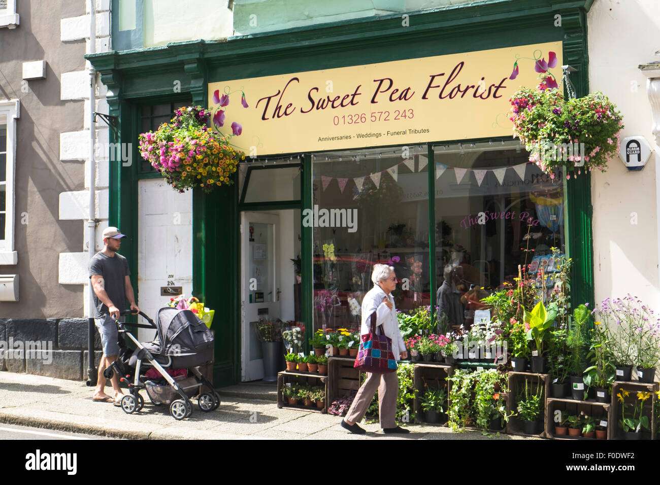 Helston a small town in the South West of England county of Cornwall  Sweat Pea Florist Meneage Street - Stock Image
