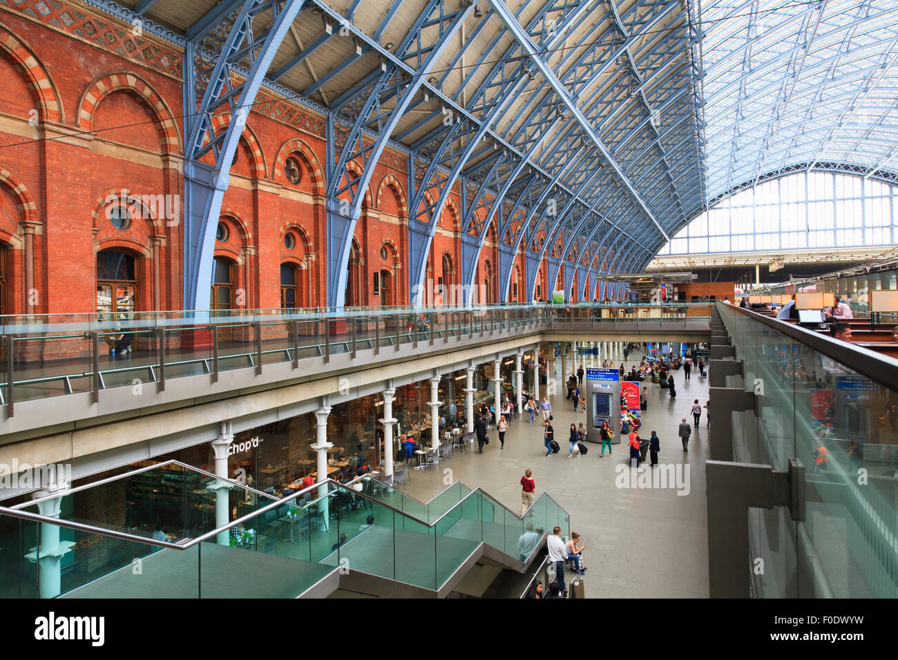 Inside the grade 1 listed St Pancras Railway Station with glazed roof Stock Photo