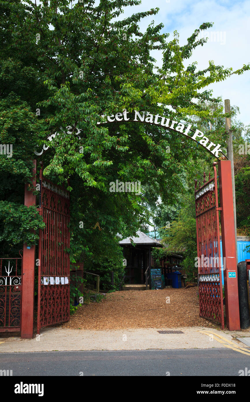 Entrance to Camley Street Natural Park in London Stock Photo