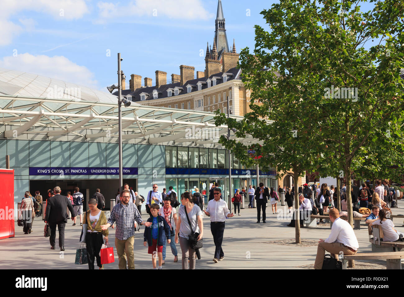People around the entrance to King's Cross St Pancras Underground Station in London Stock Photo
