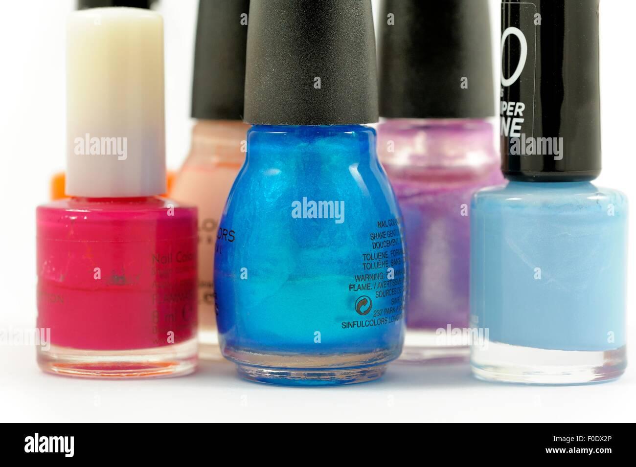 Various bottles of nail varnish - Stock Image