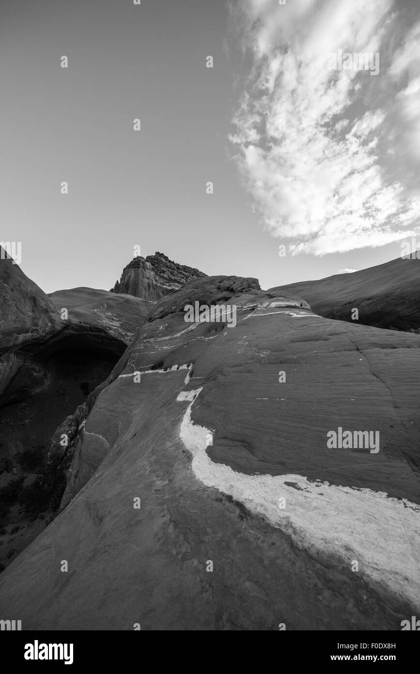 Black and White Cave Point Escalante National Utah Vertical Stock Photo