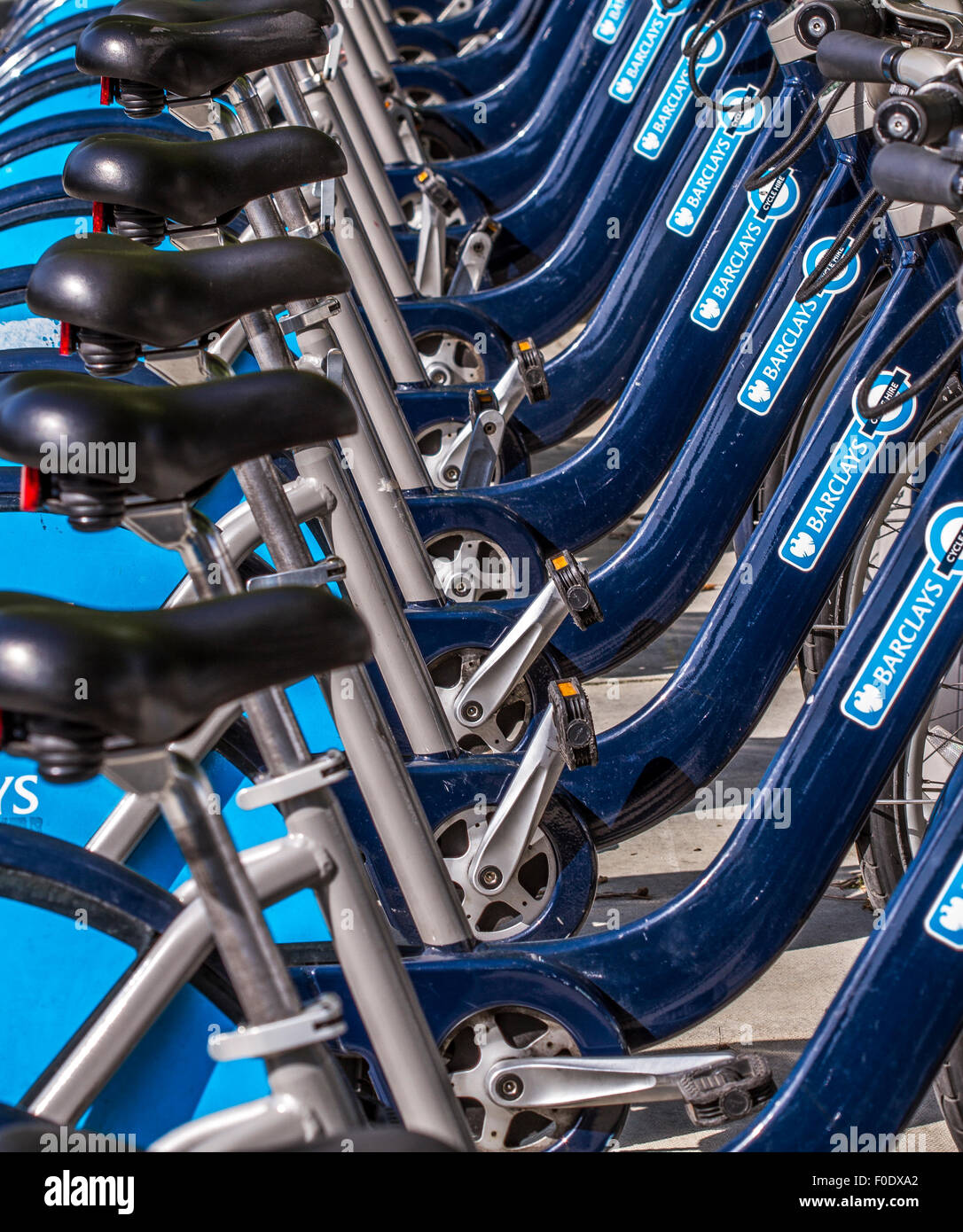 Boris Bikes racked up  In London - Stock Image
