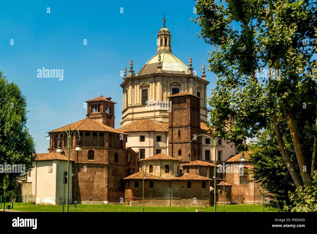 Basilicas Park (Parco delle Basiliche) with Basilica of San Lorenzo, Milan, Italy. - Stock Image