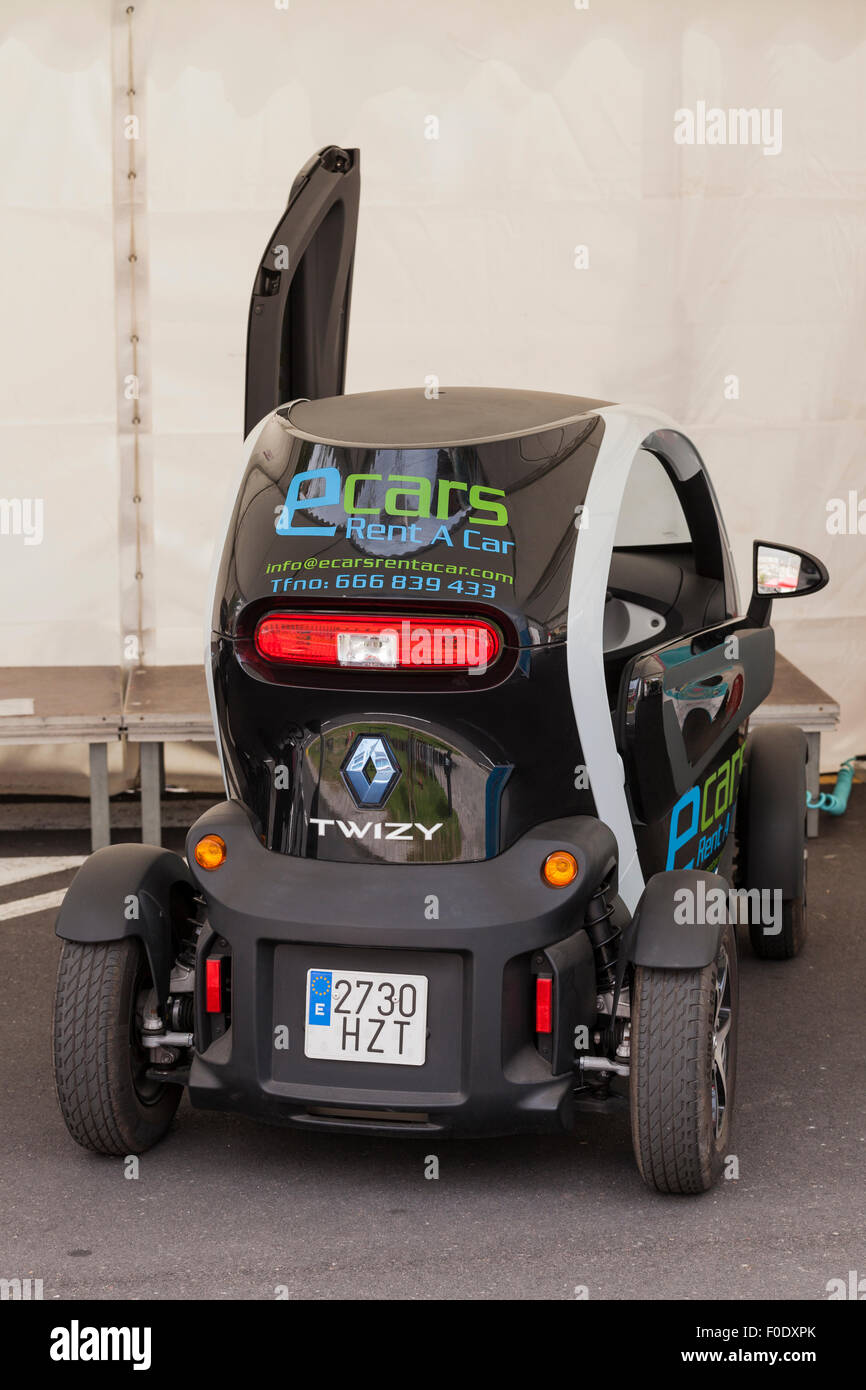 Renault Twizy electric car at a demonstration day for sustainable transport in Adeje, Tenerife, Canary Islands, Stock Photo