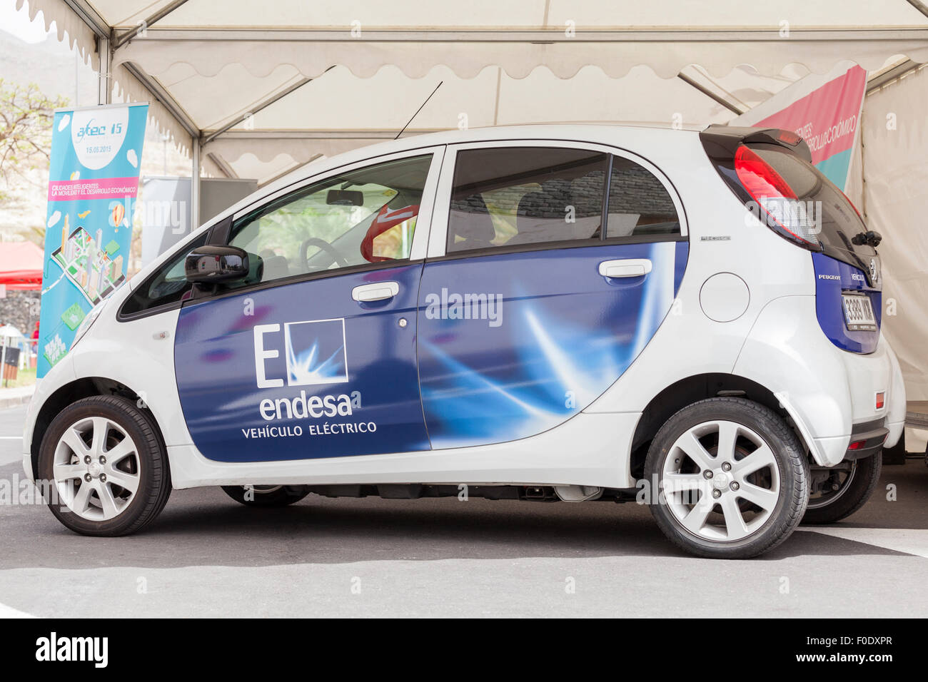 Peugeot Ion full electric car with Spanish power company Endesa logo ...