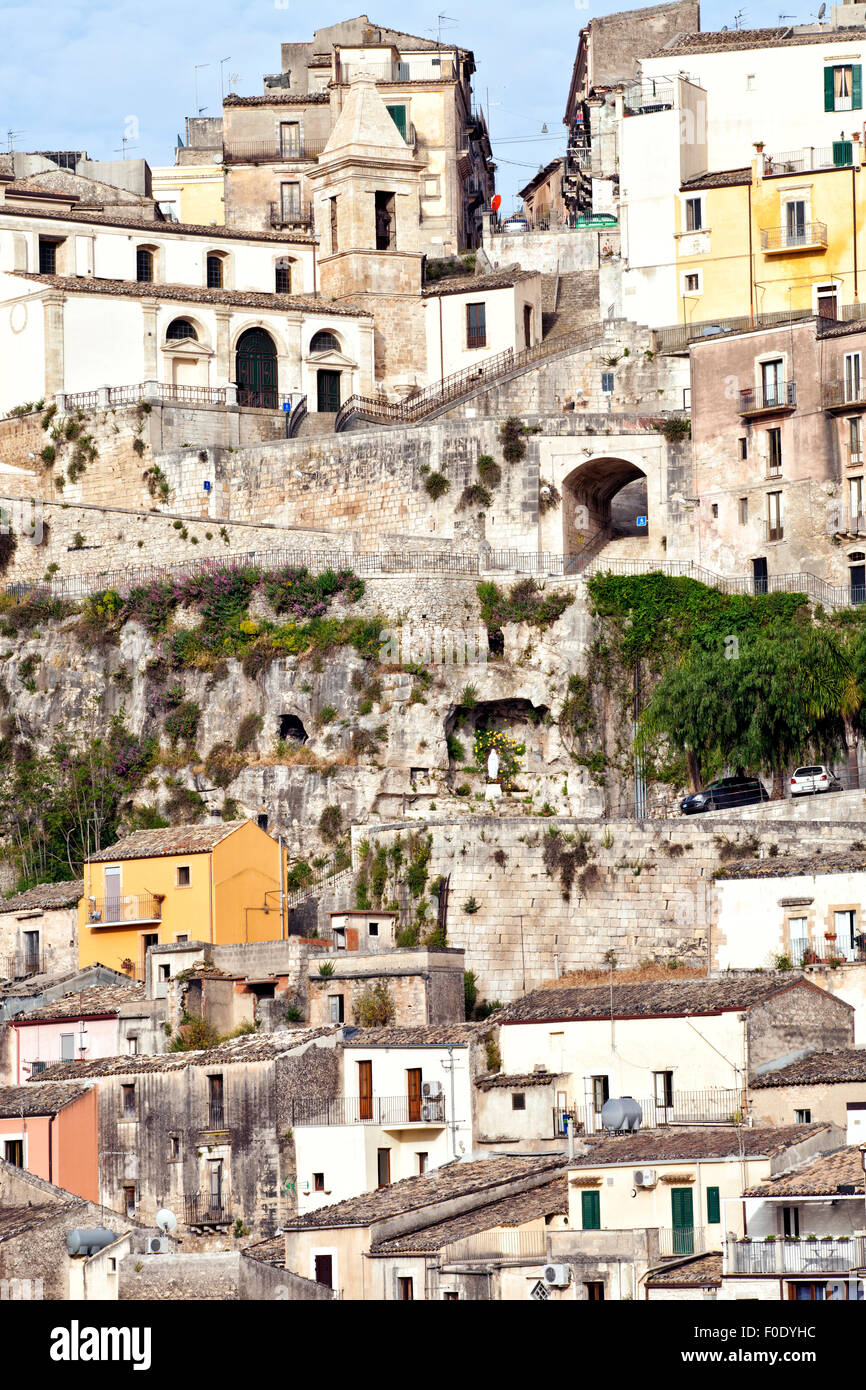 Hill view of charming historic baroque town of Ragusa Sicily Italy - Stock Image