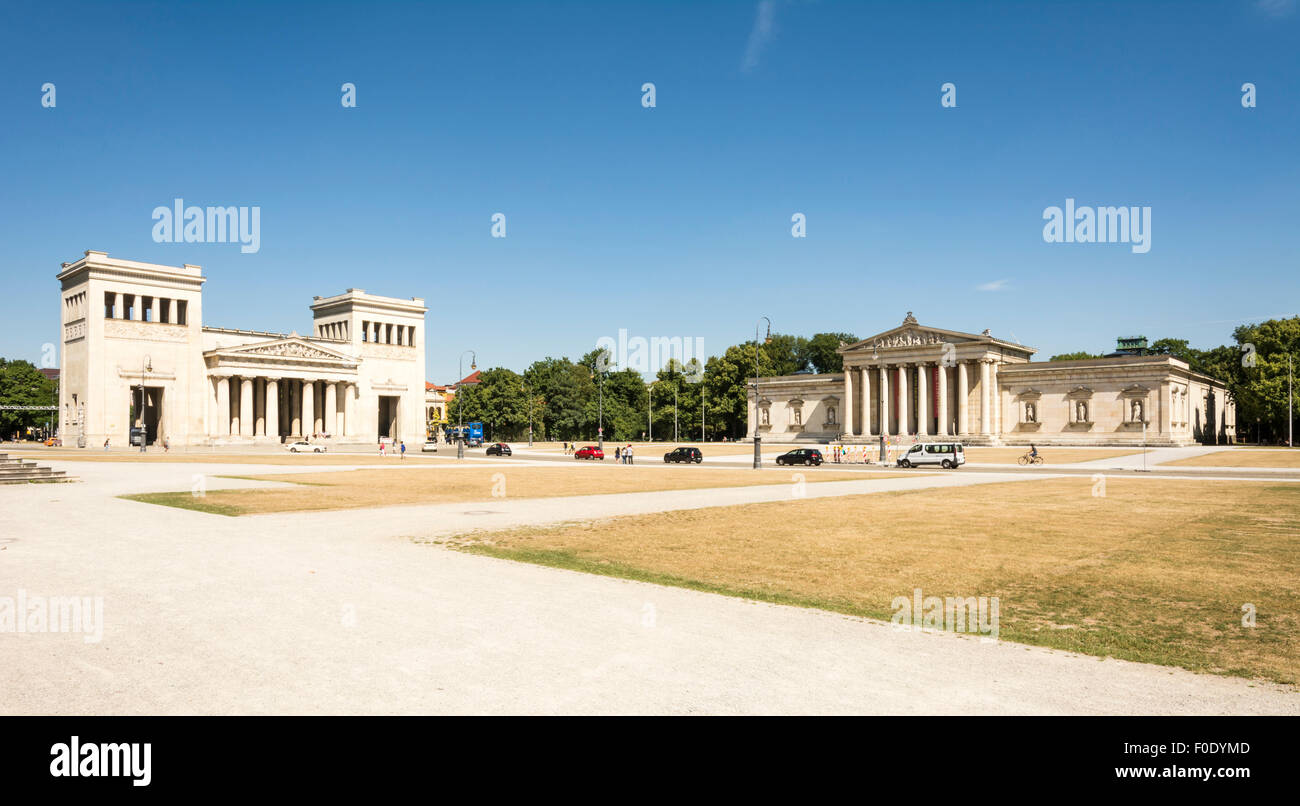 MUNICH, GERMANY - AUGUST 3: Tourits at the Koenigsplatz in Munich, Germany on August 3, 2015. During the third reich Stock Photo