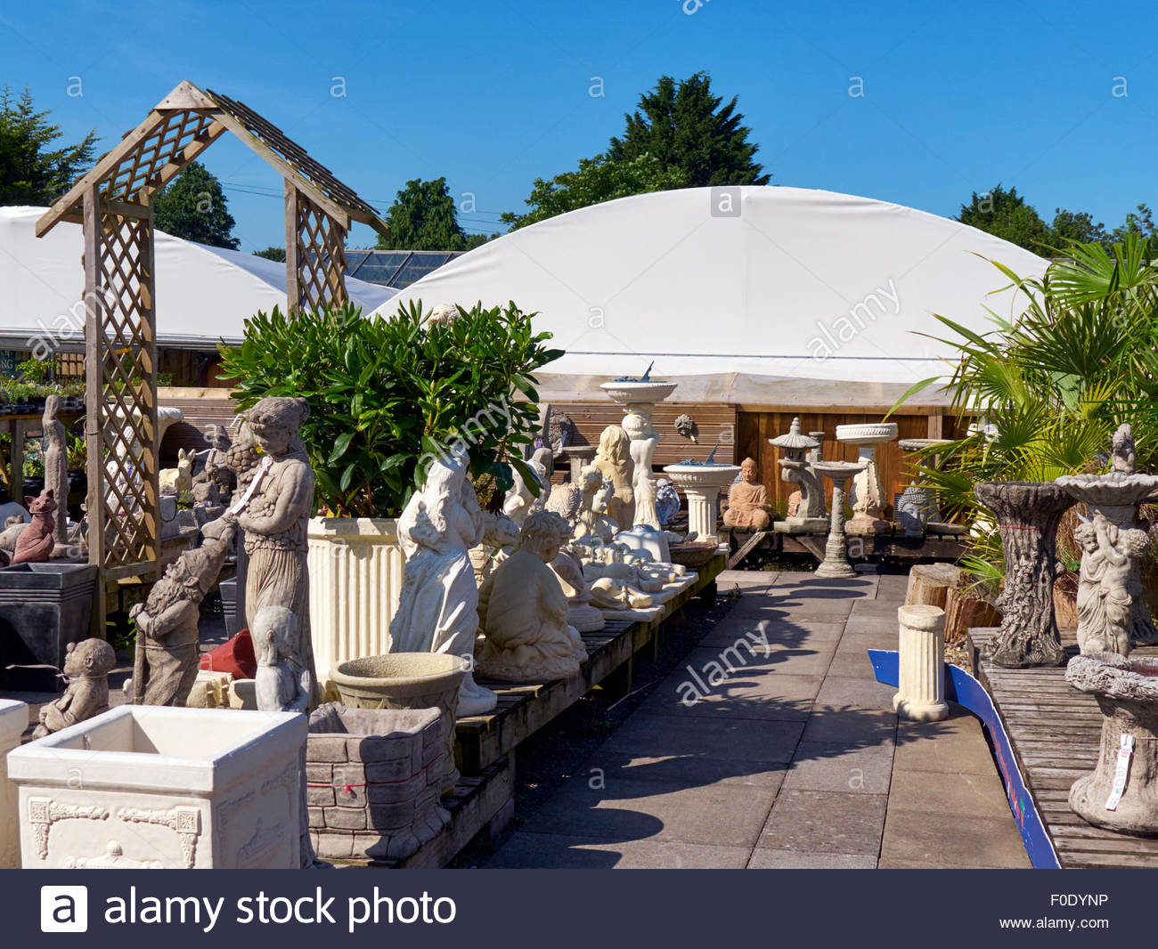 Stone Statues And Bird Baths For Sale In A Garden Centre In Ewenny