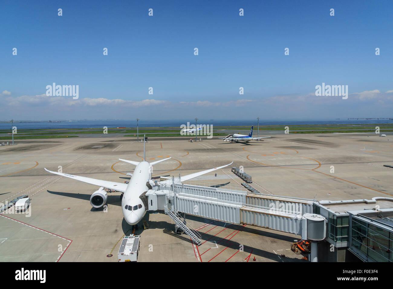 Airplanes at Haneda Airport in Japan - Stock Image
