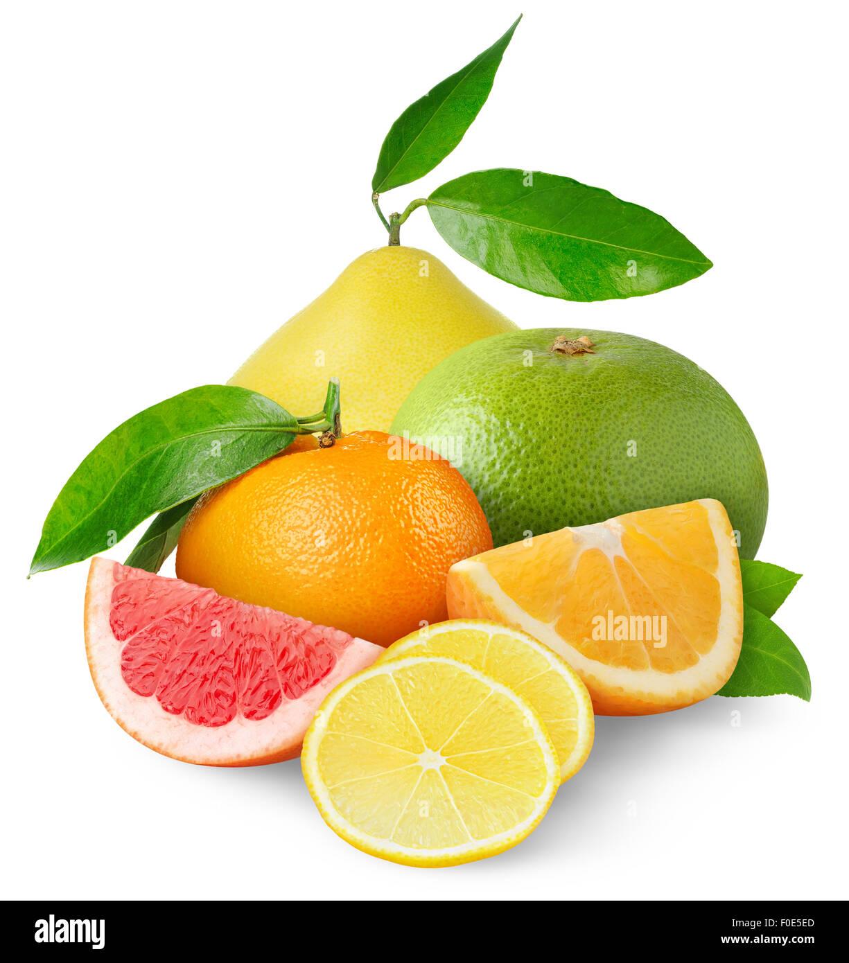 Beautiful citrus fruits isolated on white - Stock Image