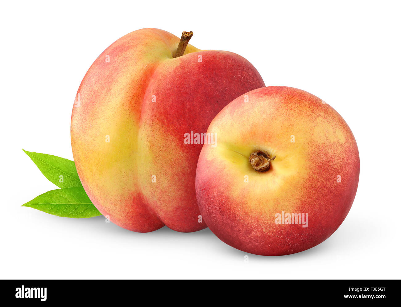 Two peaches isolated on white - Stock Image