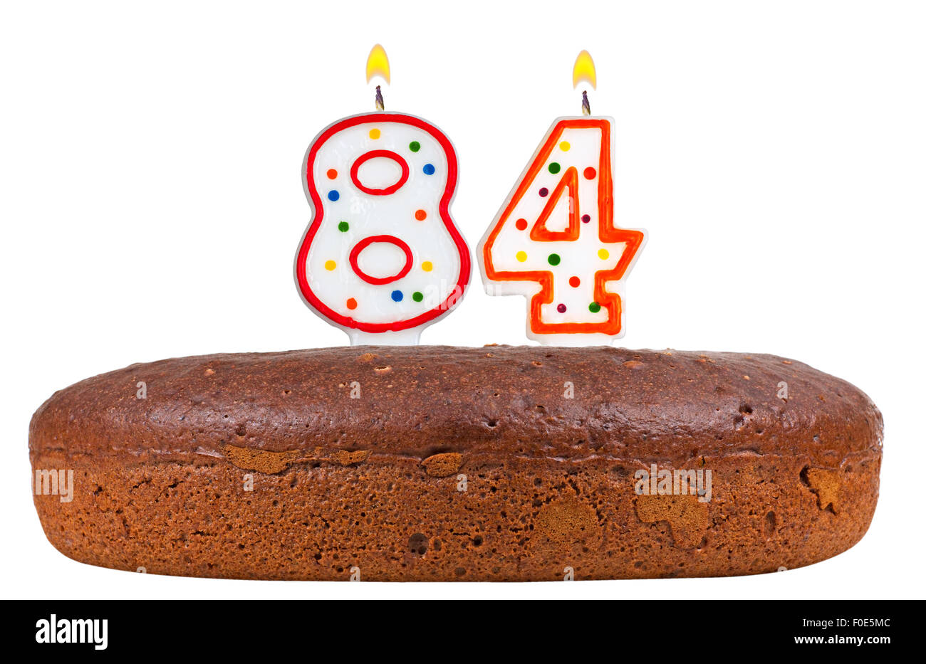 Birthday Cake With Candles Number Eighty Four Stock Photo 86363660