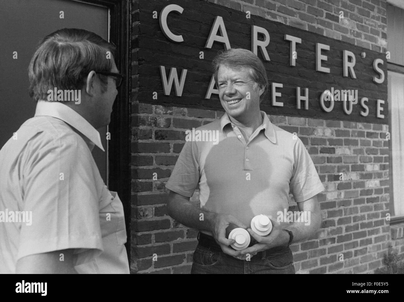 Jimmy and Brother Billy Carter at Carters Warehouse in Plains, Georgia. The brothers also own agricultural land - Stock Image