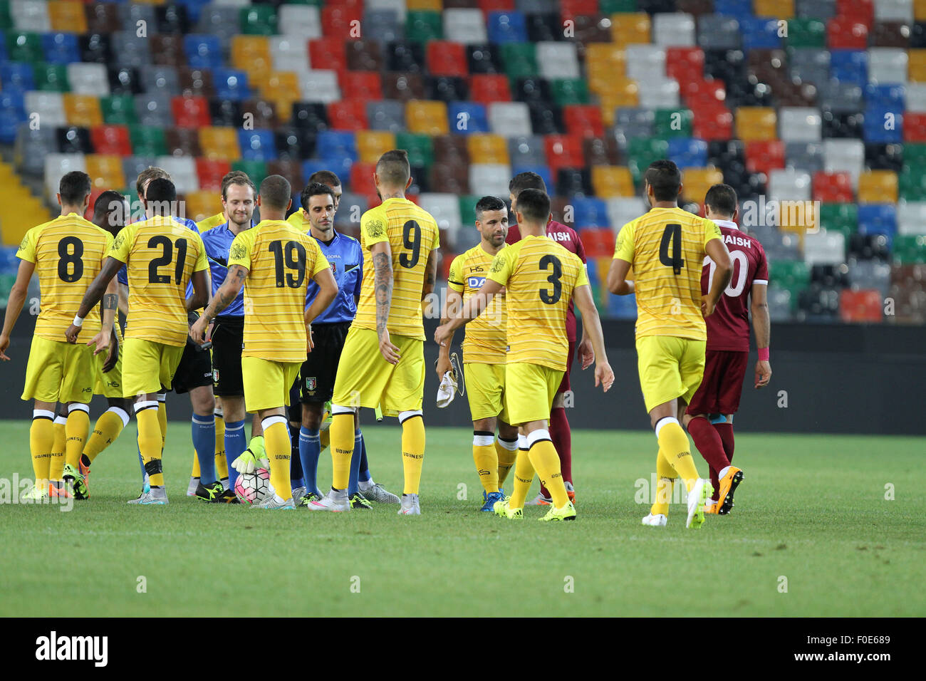 Udine, Italy. 13th August, 2015. Match started the friendly pre-season football match Udinese Calcio v El-Jaish - Stock Image