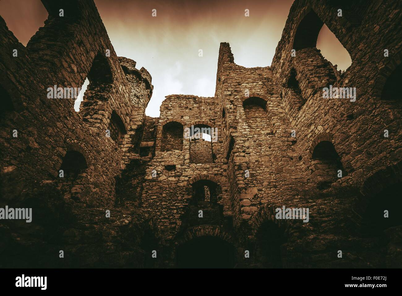 Castle Ruins in Ogrodzieniec, Poland, Europe. Medieval Castle. - Stock Image