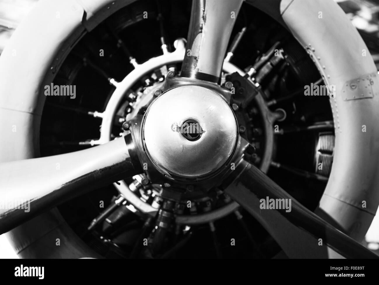 2b156e071de7 Vintage Aircraft Propeller with Radial Engine. World War II Combat Airplane  Closeup. - Stock