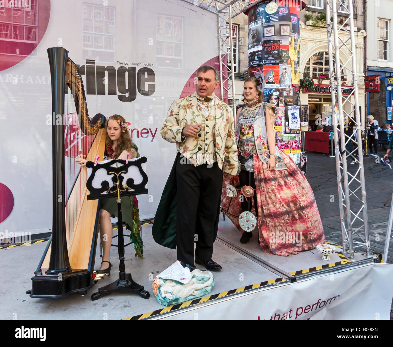 Artists & performers promoting their shows at the Edinburgh Festival Fringe 2015 in The Royal Mile Edinburgh - Stock Image