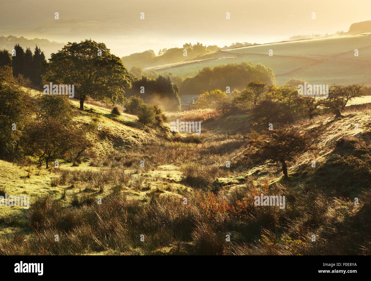 Beautiful English countryside in the Peak District , North West England. - Stock Image