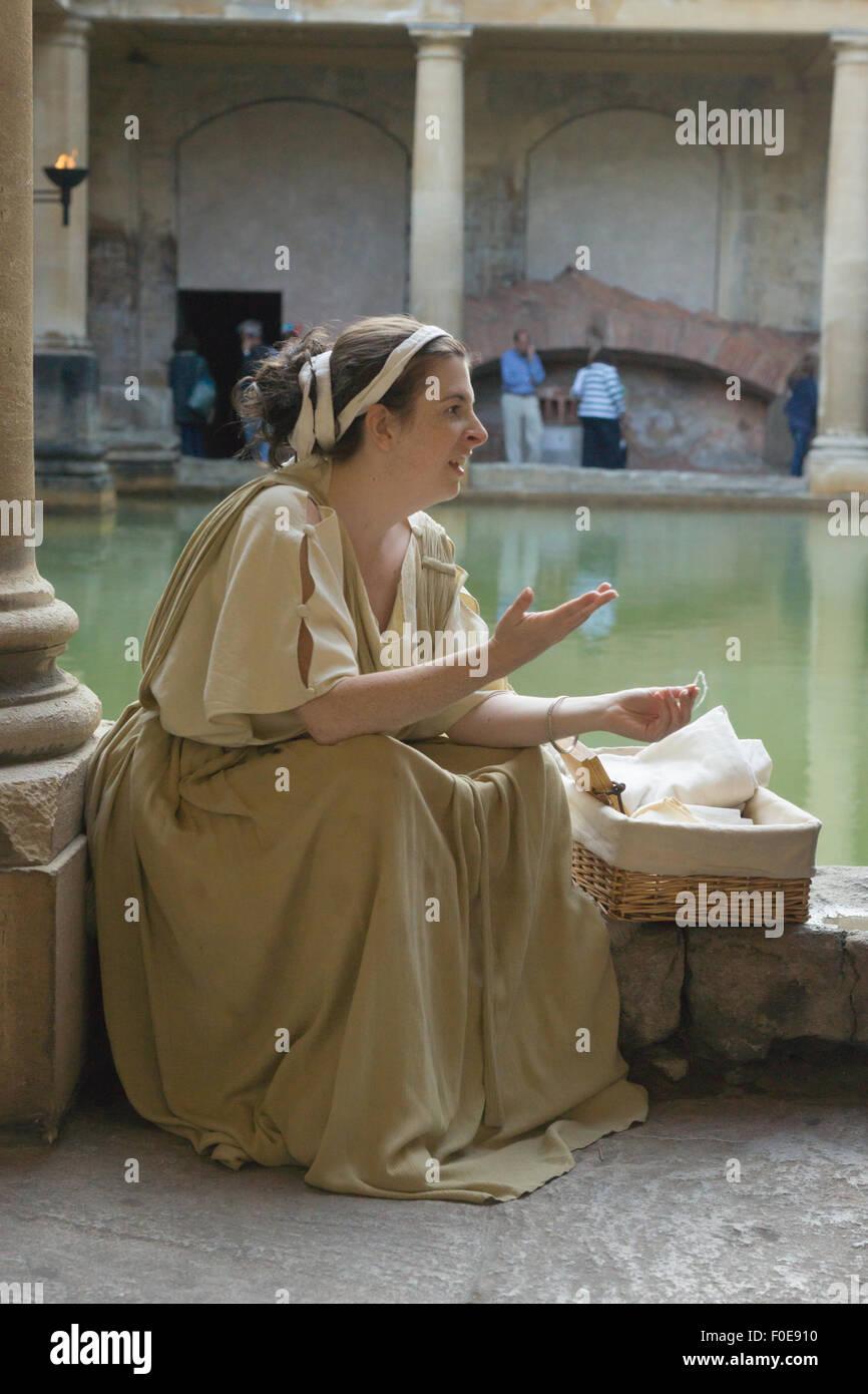 Bath.  England.  Roman Baths.  Costume interpreter. Roman Woman - Stock Image