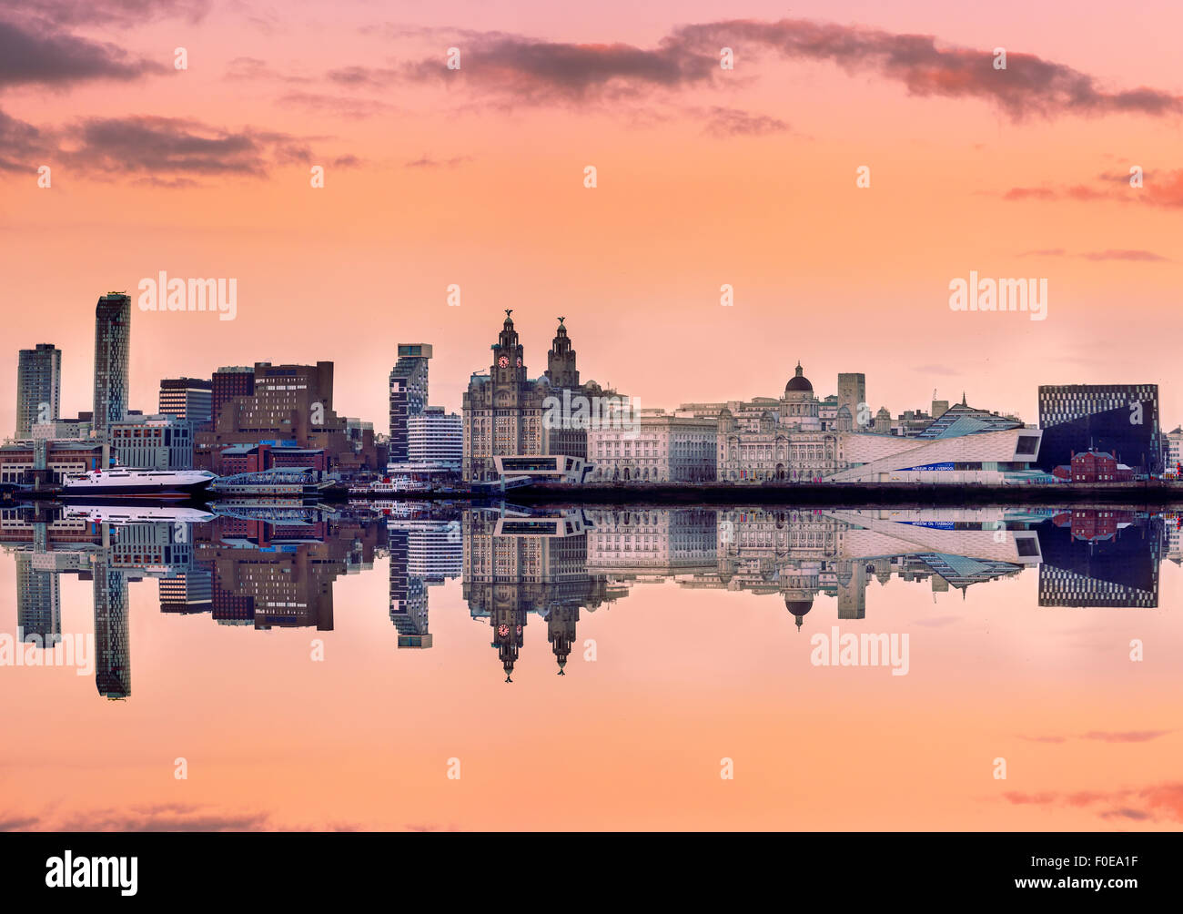 Liverpool skyline with a panoramic view of all the famous landmarks on the bank of Mersey river. - Stock Image