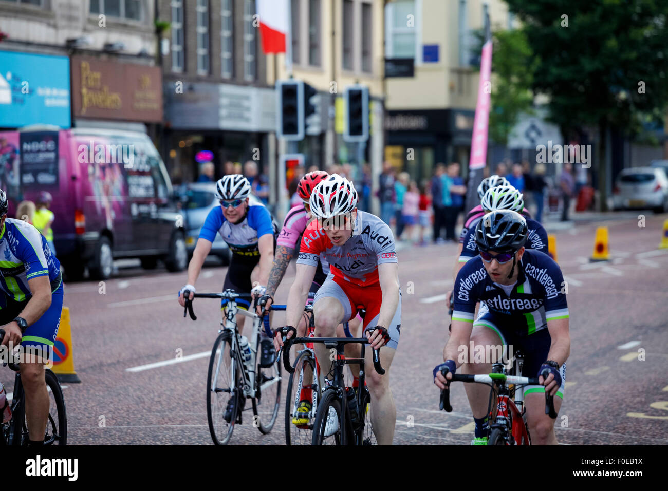 Bangor, Co. Down, Northern Ireland. 13th August 2015. The Seat Criterium Super 7 Final cycle race is abandoned after Stock Photo