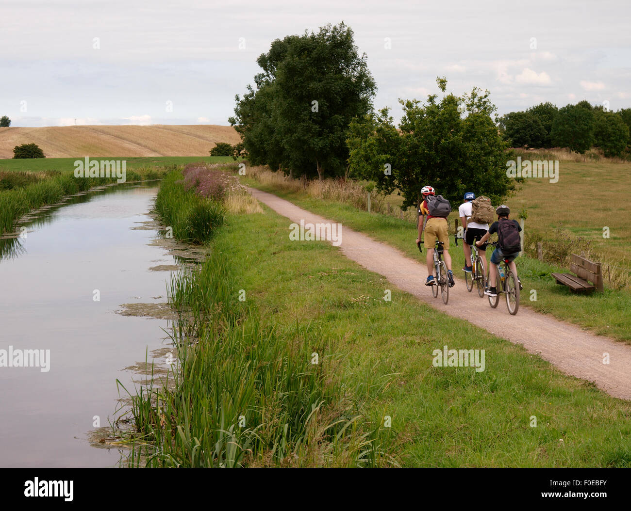 Teens cycling along the towpath of the Bridgwater and Taunton Canal, Taunton, Somerset, UK - Stock Image