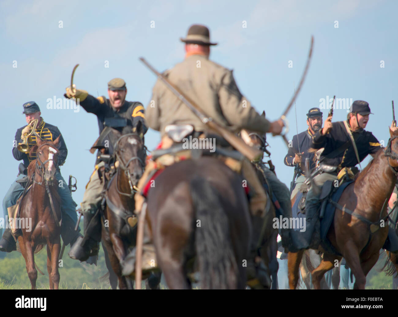 Gettysburg reenactment battle, Cavalry charge between Union and Confederate Armies. - Stock Image
