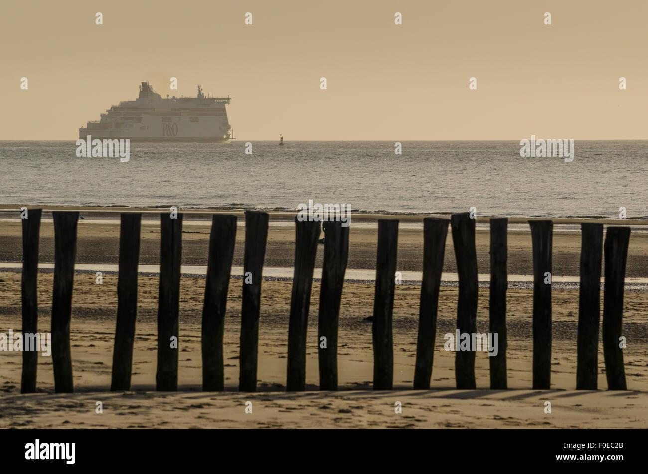Wooden Breakwaters on Blériot Plage beach, Pas-de-Calais, France - Stock Image