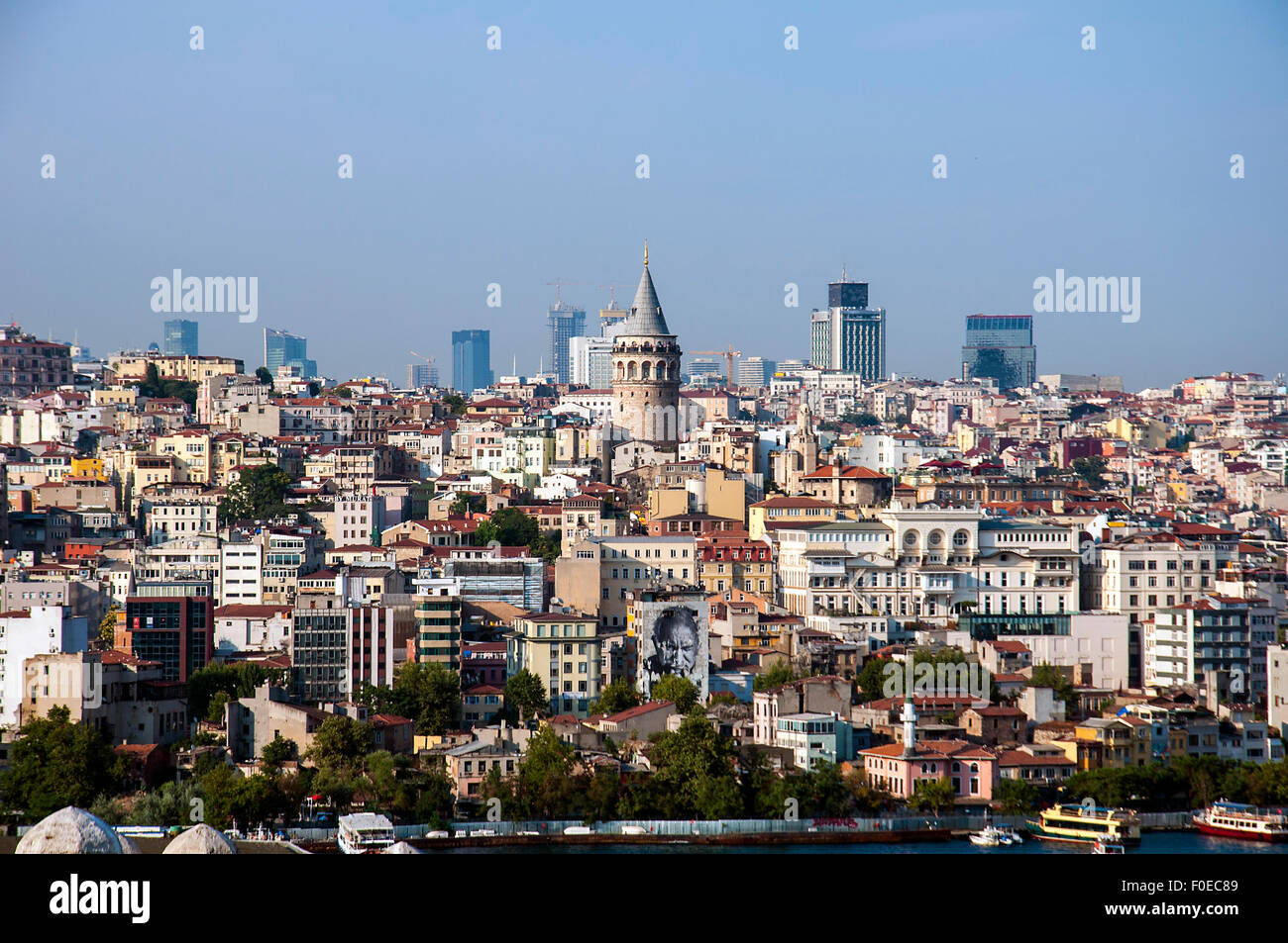 Beyoglu district historic architecture and Galata tower medieval landmark in Istanbul, Turkey - Stock Image