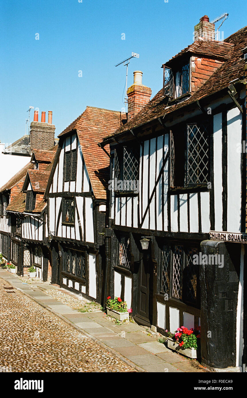 Old Tudor houses in Church Square, Rye, East Sussex, UK Stock Photo