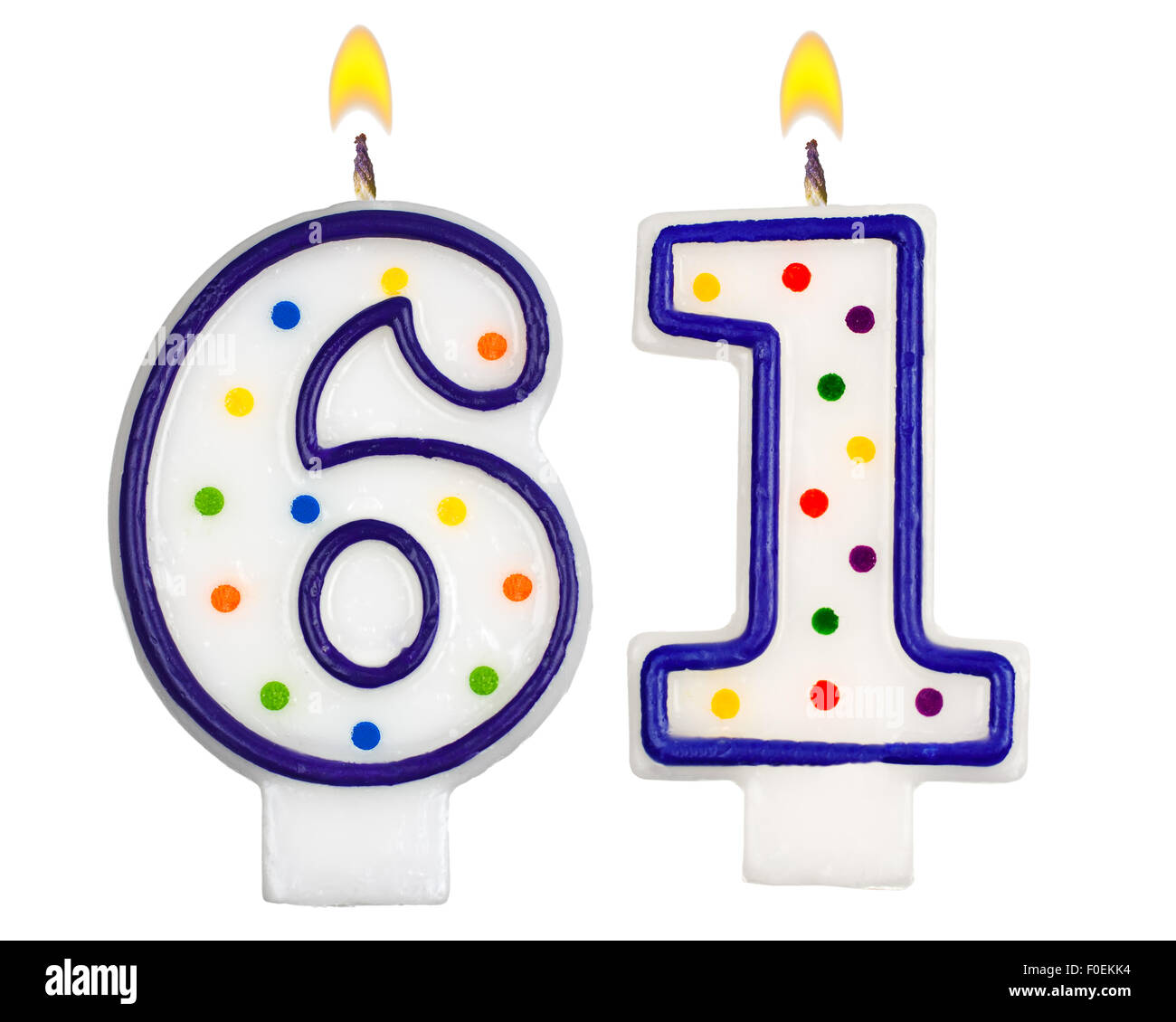 Birthday Candles Number Sixty One Isolated