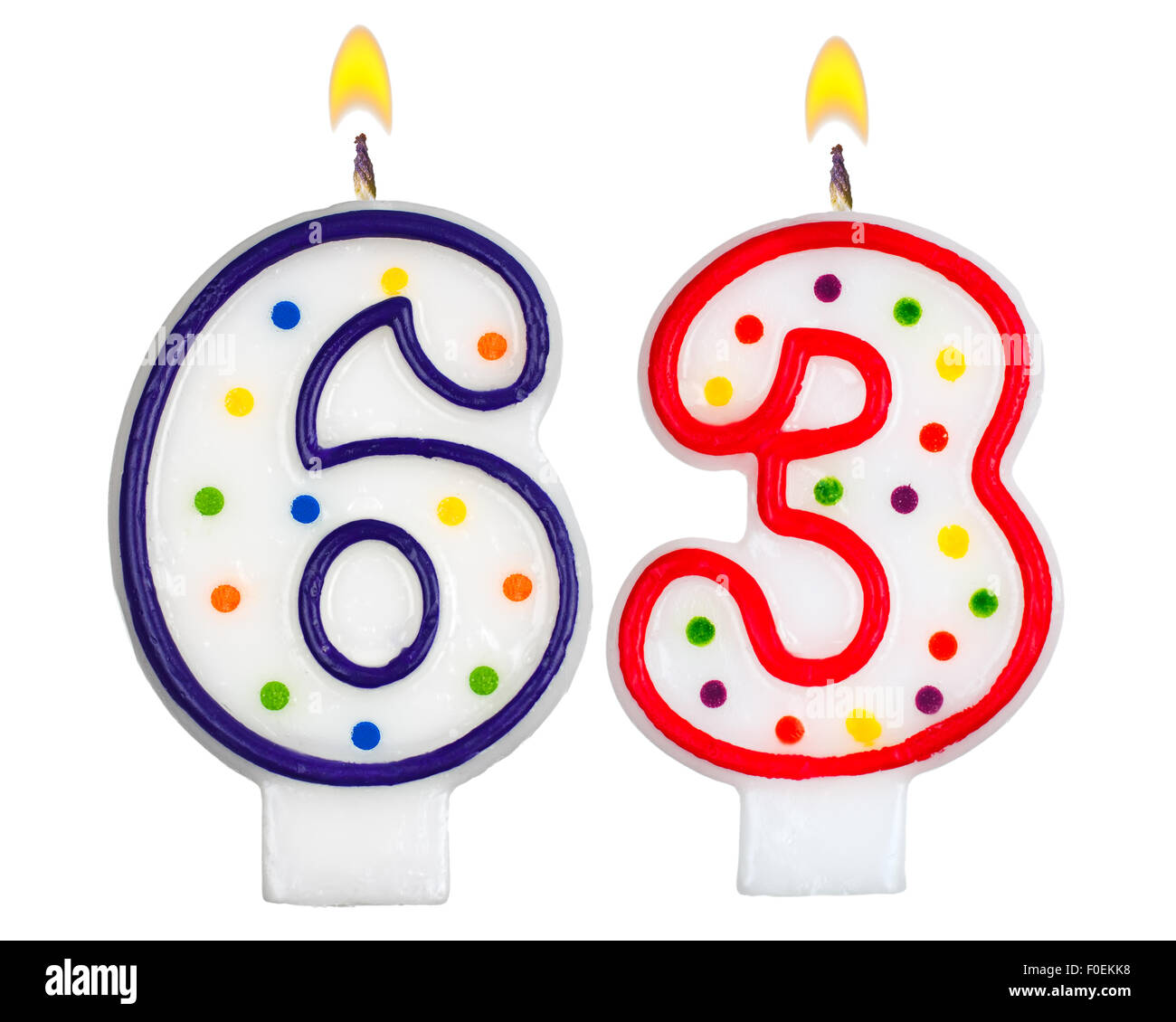 Birthday Candles Number Sixty Three Stock Photo  86374604
