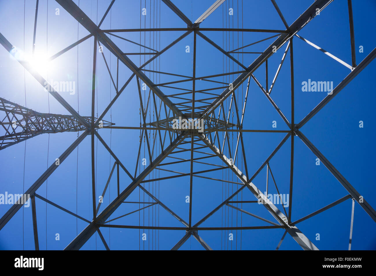 View from inside a metal electric tower. Stock Photo