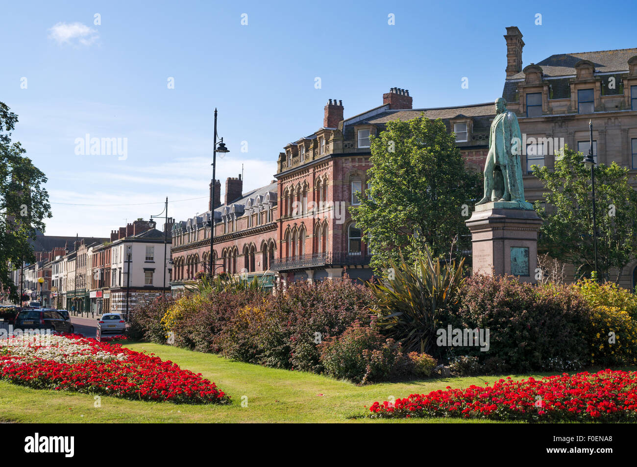 Ramsden Square statue and Abbey Road Barrow-in-Furness, Cumbria, England, UK Stock Photo