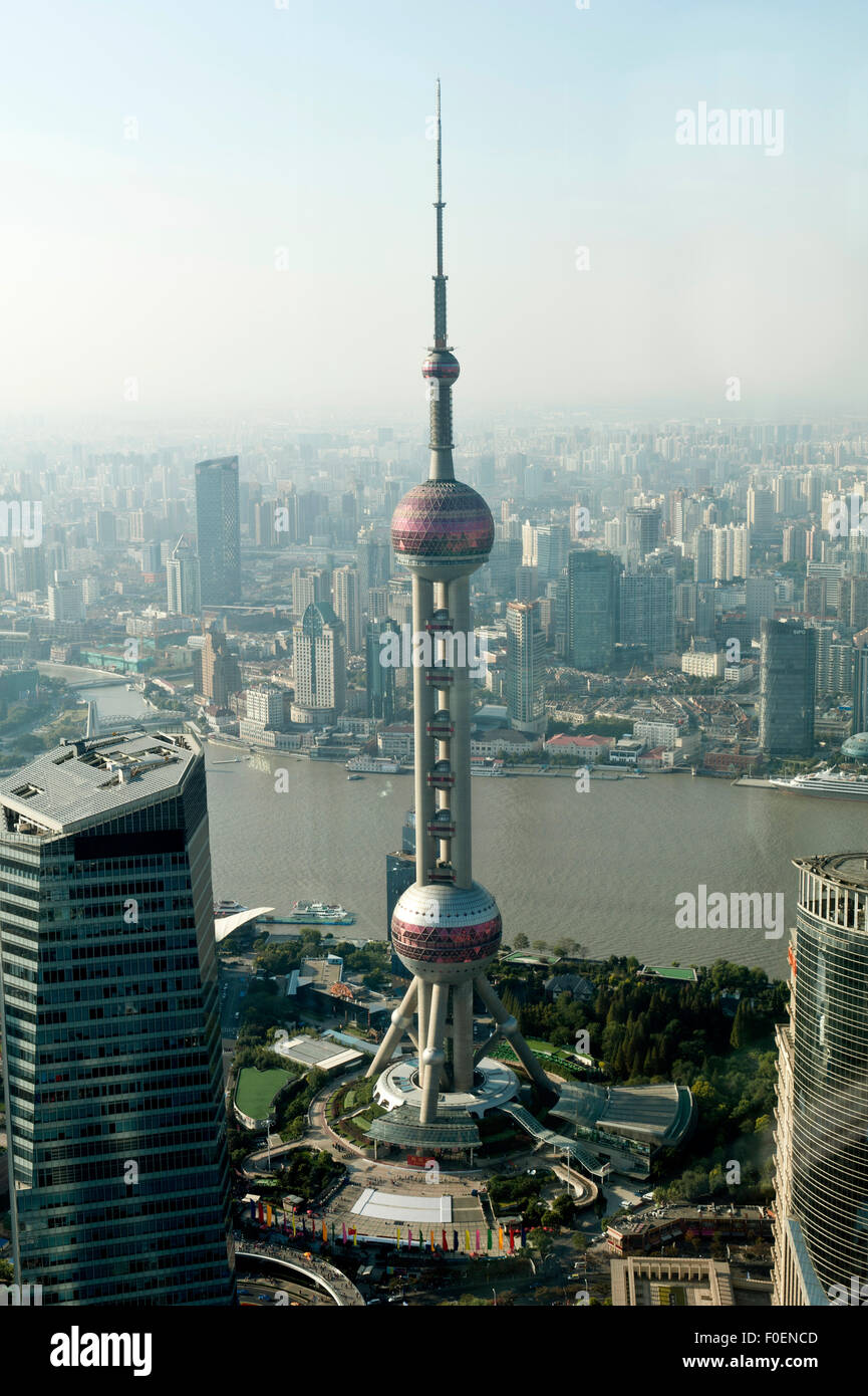 View from Jin Mao Tower to the Oriental Pearl TV Tower, Huangpu River, Pudtog, Shanghai, China - Stock Image