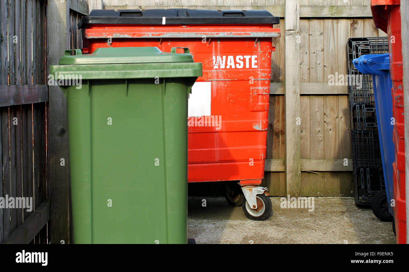 Commercial waste bins in a business park. Stock Photo