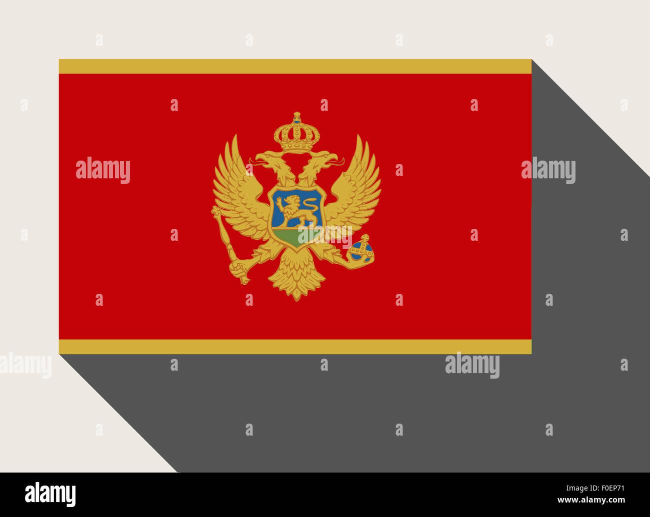 Montenegro flag in flat web design style. Stock Photo