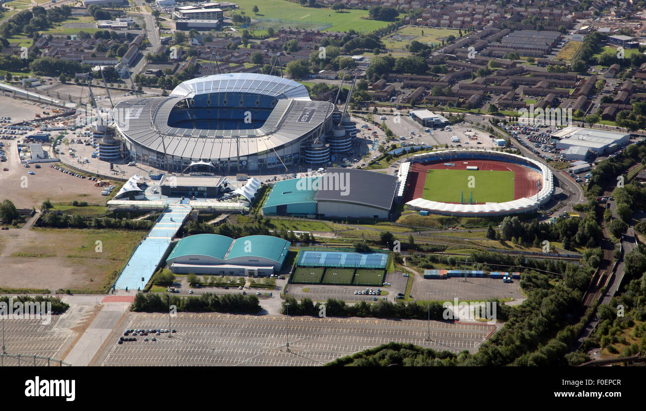 aerial view of Manchester City Etihad football Stadium and Manchester Regional Arena, UK - Stock Image