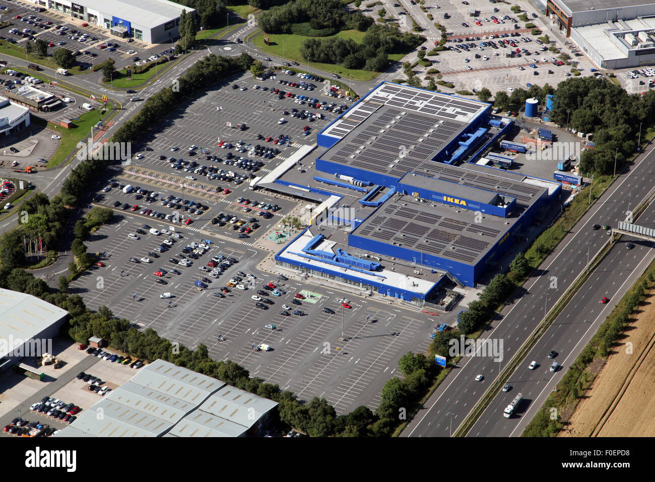 aerial view of Ikea store at Westbook Warrington Cheshire, UK - Stock Image