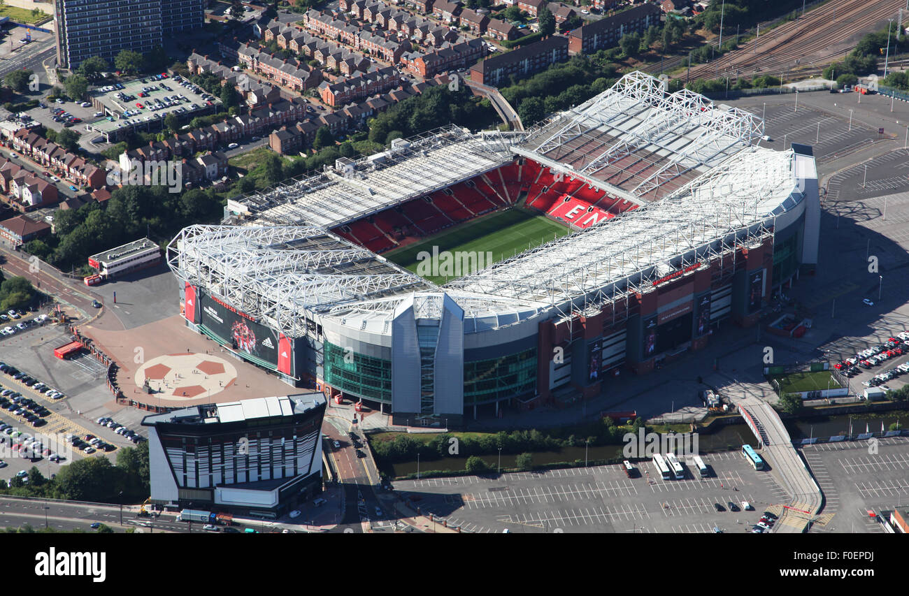 Aerial View Of Old Trafford Stadium Home Of Manchester United Stock Photo Alamy