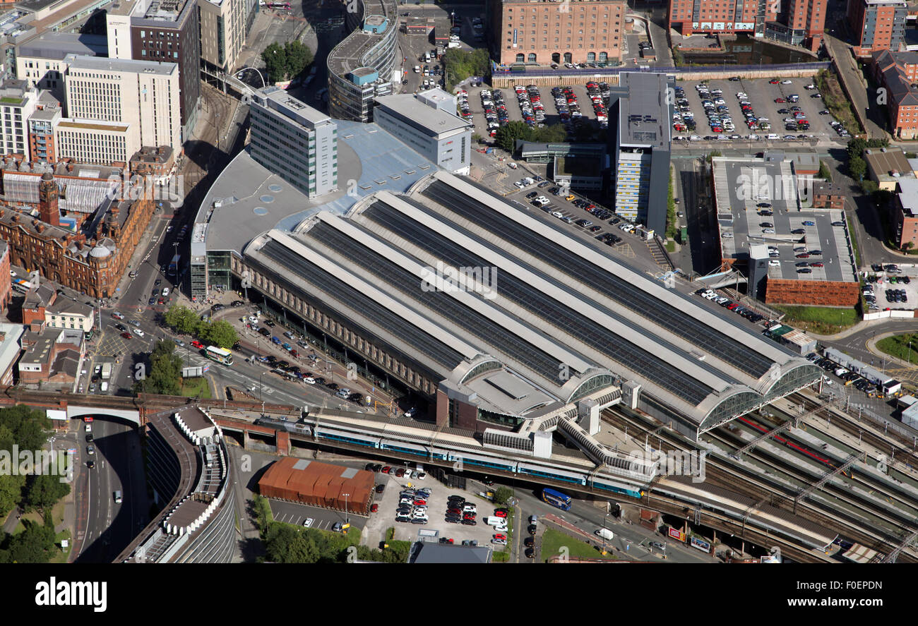 aerial view of Manchester Piccadilly railway station, UK - Stock Image