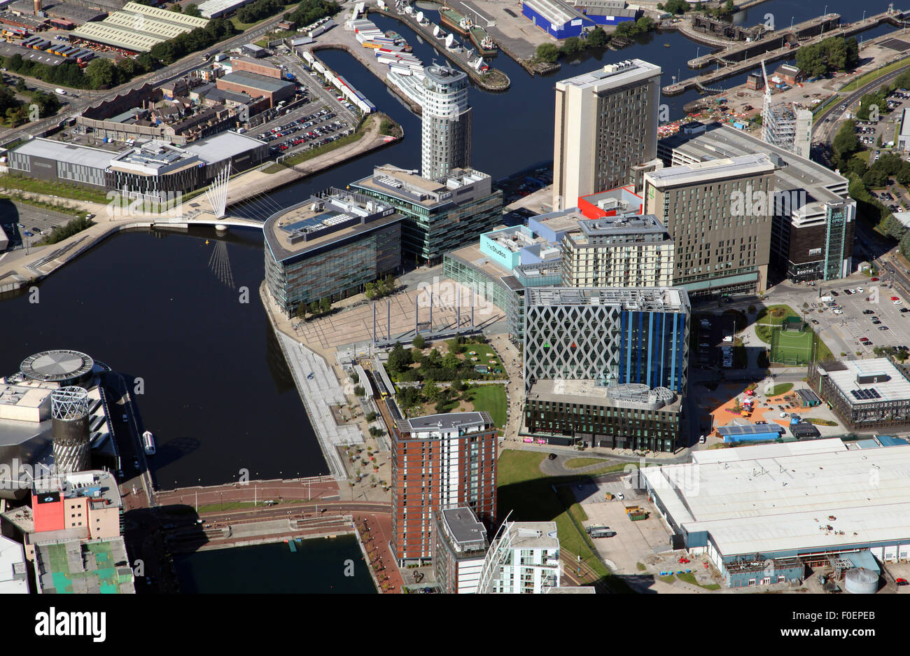 aerial view of Salford Quays near Manchester - Stock Image