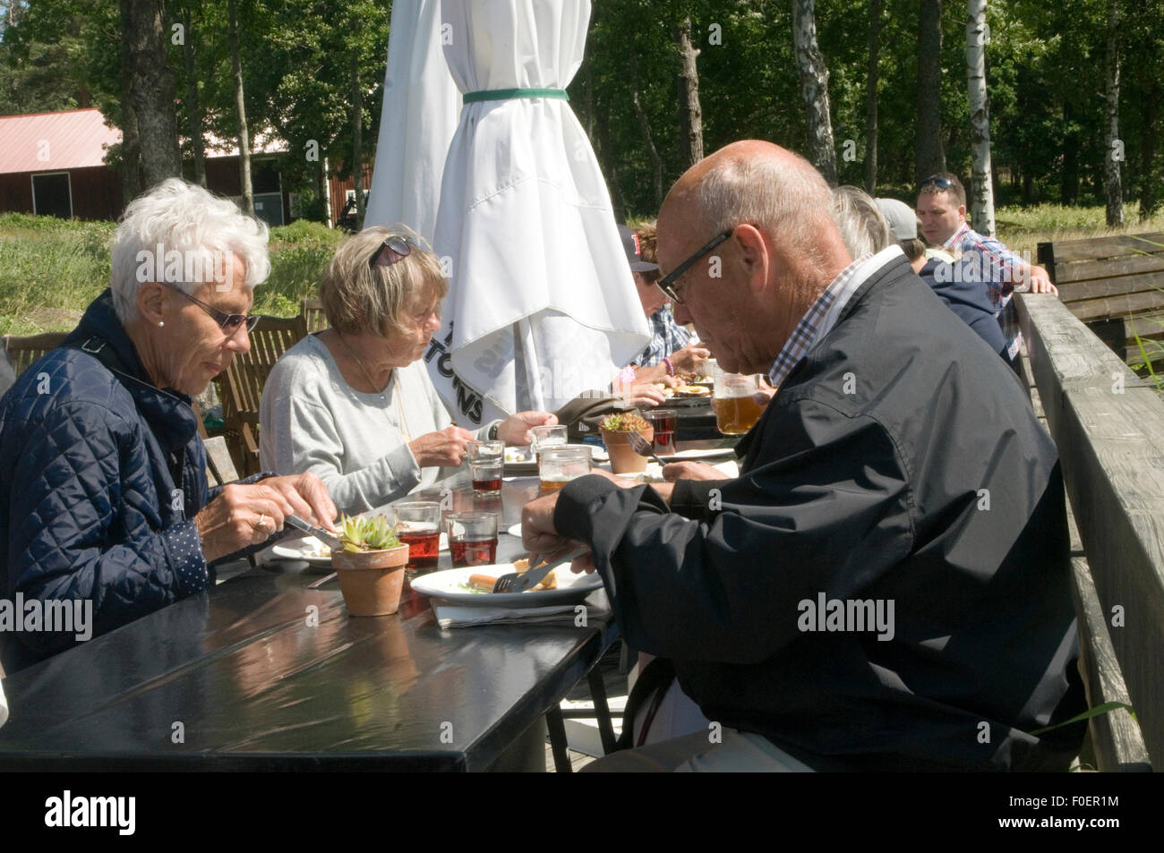 sweden swedish pensioners pensions pension Scandinavian state Scandinavians retirement income meal eating restaurant - Stock Image