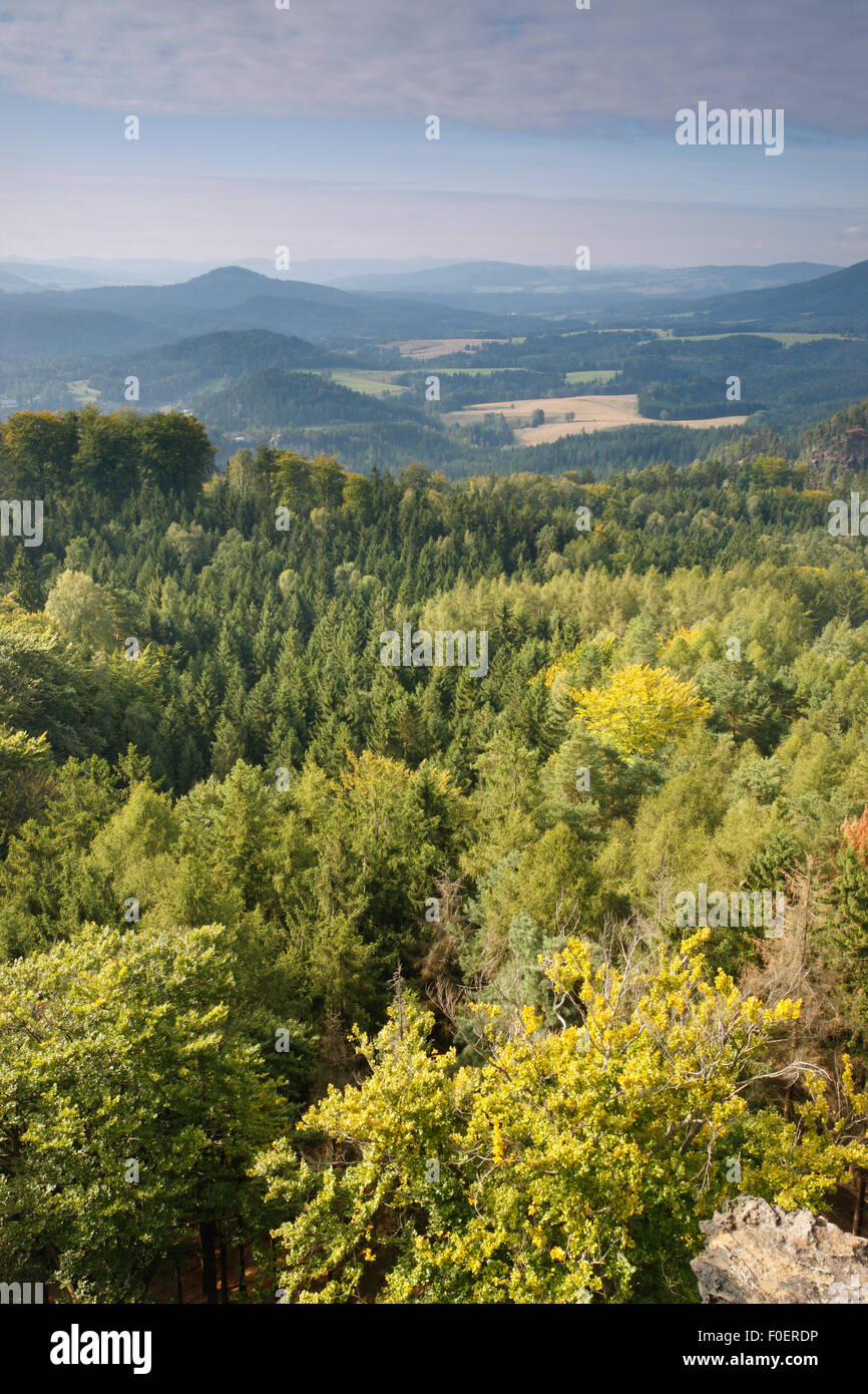 View from Rudolf Kamen / Stone, Medvedi Diry, Ceske Svycarsko / Bohemian Switzerland National Park, Czech Republic, - Stock Image
