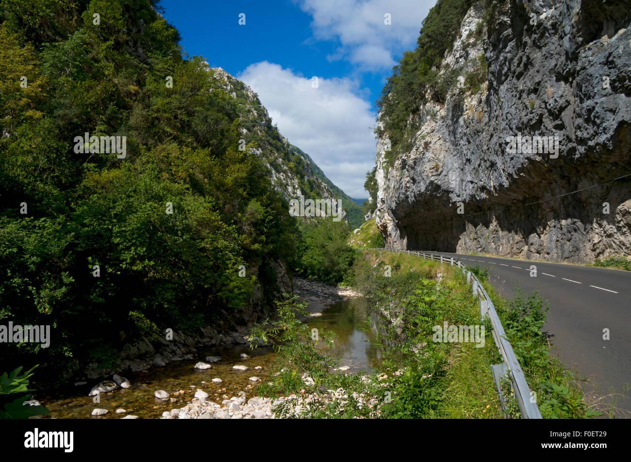 gorge road to Picos de Europa national park,Asturias,Northern Spain - Stock Image